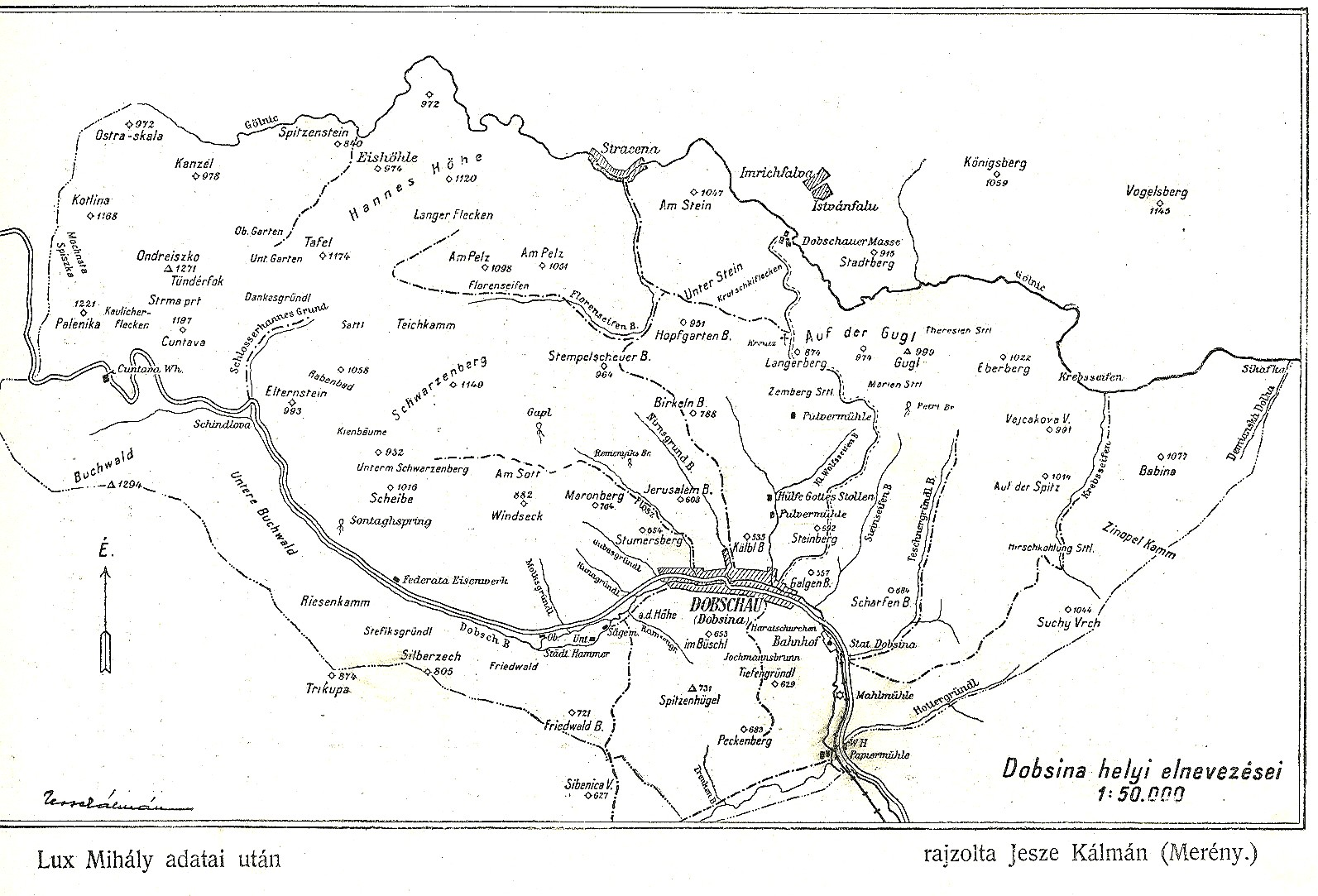 Chotárne názvy Dobsiná  600 výročie z r. 1927