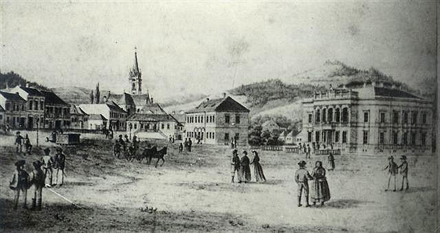 Dobová maľba Dobšinského námestia