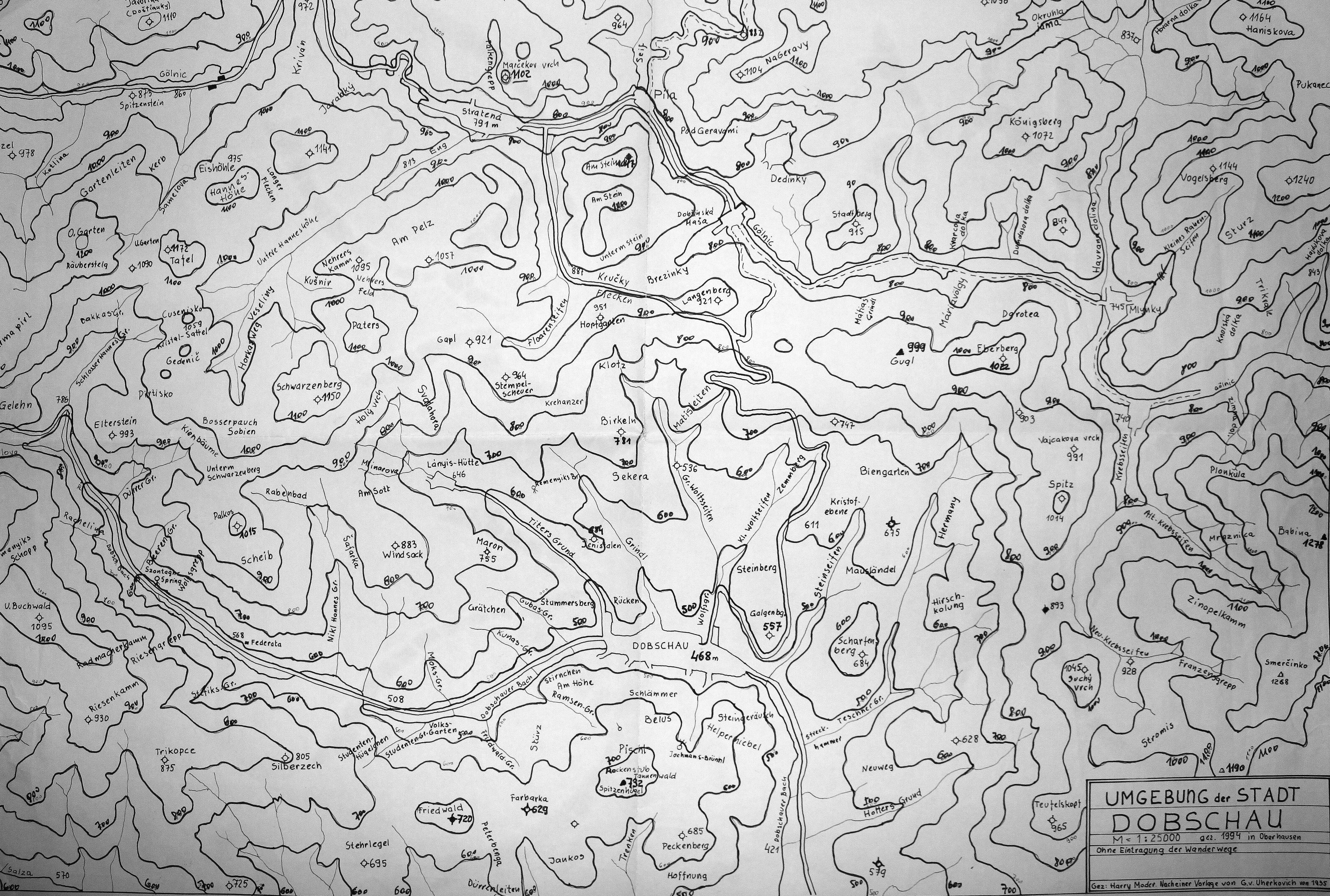 Mapa Dobšinej,podľa predlohy Uherkovicha  z roku 1935.